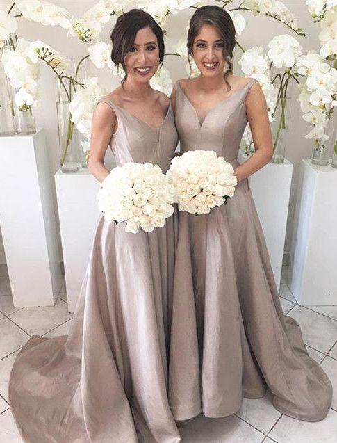 Vestido longo New Long   Bridesmaid     Dresses   V-neck Sleeveless A-Line Court Train Taffeta Wedding Party   Dresses