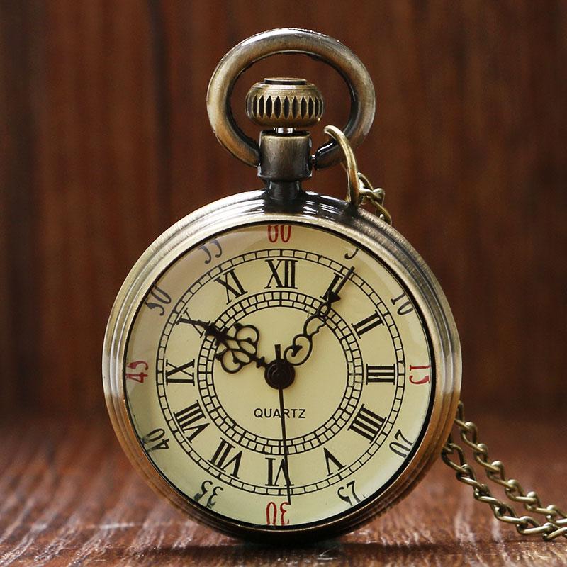 Antique Bronze Roman Numerals Dial Pocket Watch Necklace