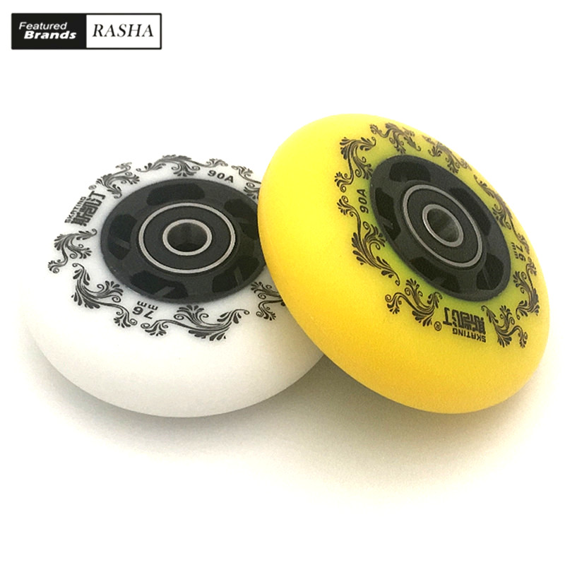 Prix pour 90a de patinage à roues alignées patinage roues 76mm 80mm patins à roulettes roues jaune blanc freestyle roue avec roues roulements