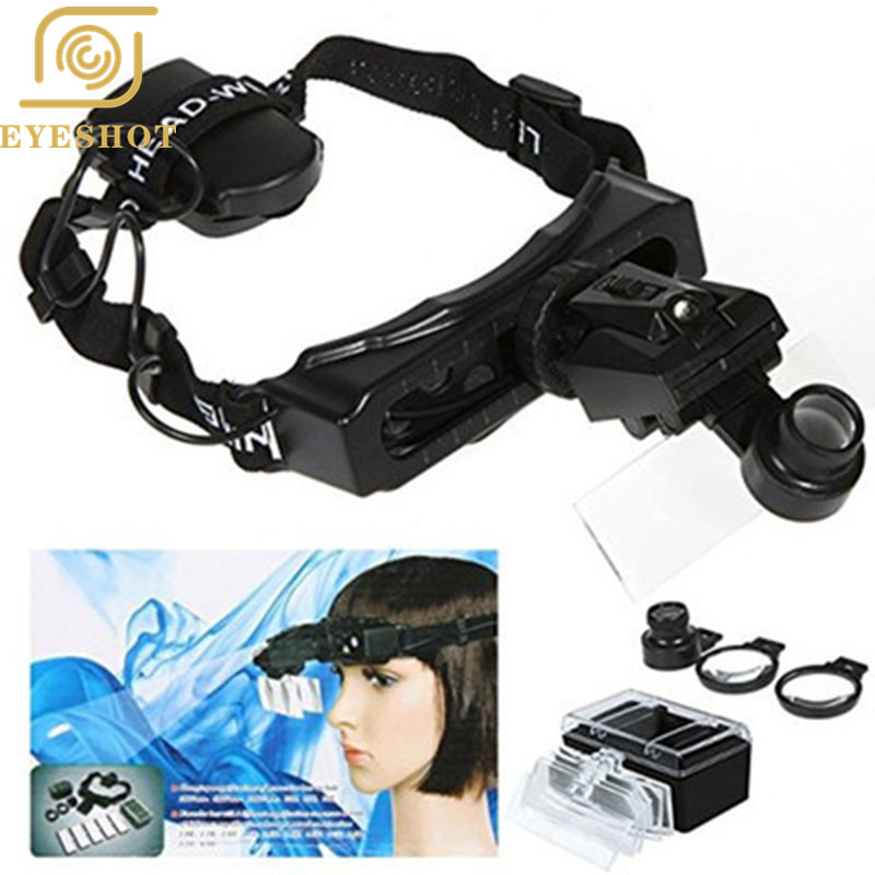EYESHOT High Quality 5 Lens Eyeglasses Head Magnifier Magnifying Glass Loupe Jewellery Watch Repair Tool + 2 LED Hot