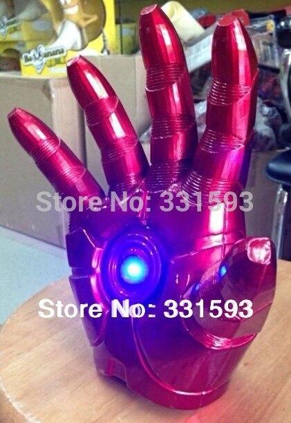 Super hero Iron Man Mark 3 Gloves with LED Light Movie PVC Action Figure Model Toy Free Shipping 1pcs