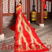 Limited Edition Luxury long tailing palace gold thread embroidery Phoenix Royal Cathedral Train Bridal Wedding Dress combination