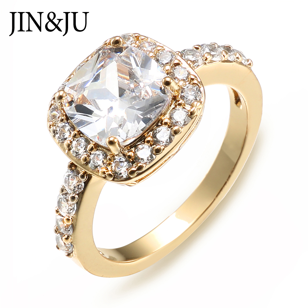 JIN JU Jewelry Elegant Ring Gold Color Unique Design Anniversary Wedding Rings