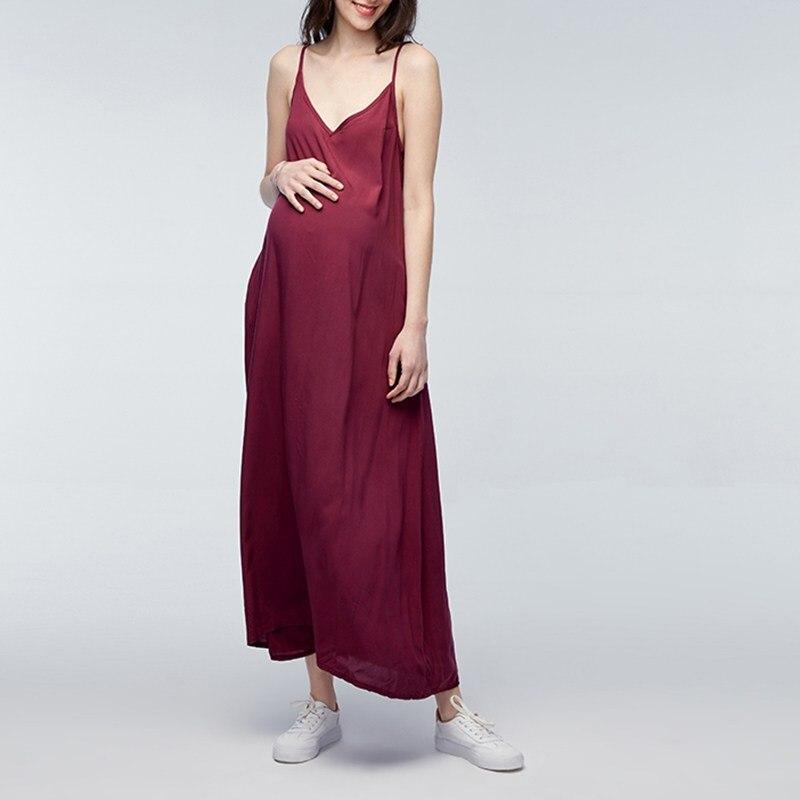 Maternity Clothings 2018 Summer Casual Loose Maxi Long Beach Dress Pregnant Women Boho Beach Pregnancy Solid Vestidos Oversized