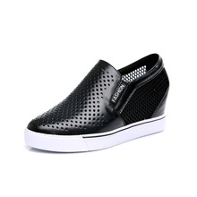 2016 Summer Women Casual Shoes Pointed Lazy Shoes Mesh Zapatos De Mujeres Full Grain Leather Chaussures Femme Shoes Luxury Brand