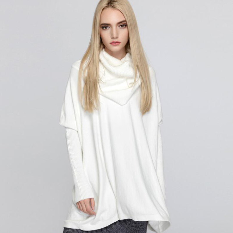 Spring Autumn Women Casual Sweater Fashion Turtleneck Knit Pullover Loose Large Size Bat Sleeve Long Sleeve Sweater Top