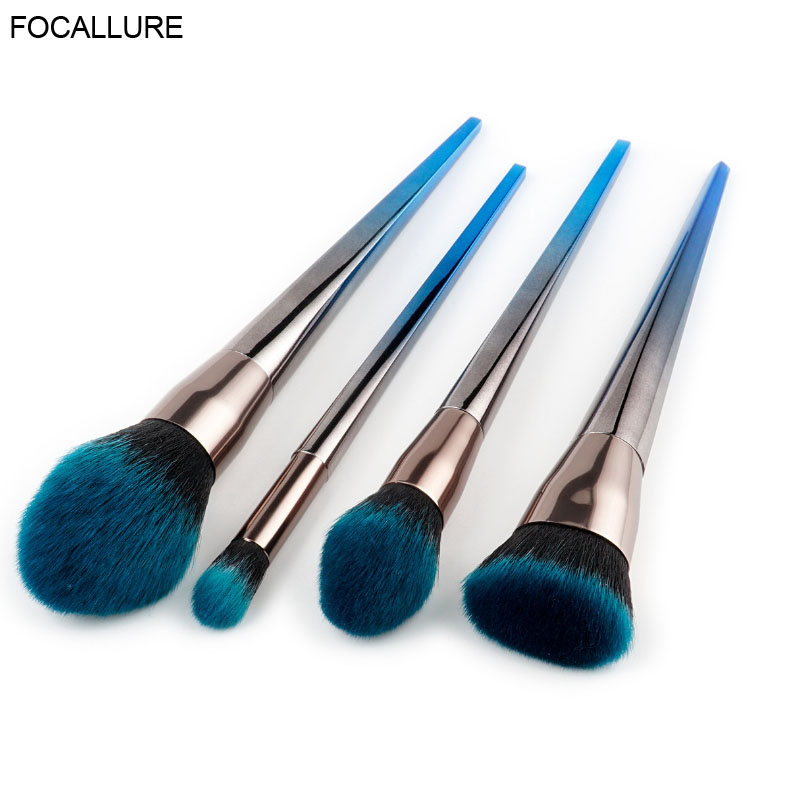 FOCALLURE  Blue Black Gradient Makeup Brushes Set Nylon Make Up Brushes Tools Cosmetic Foundation Brush Kits universal nylon cell phone holster blue black size l