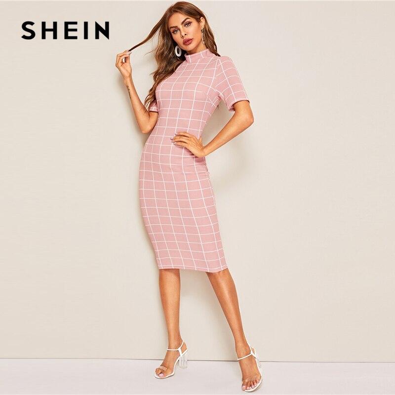 SHEIN Mock-Neck Grid Textured Pencil Dress Elegant Women Pink Zipper Stand Collar 2019 Summer Dress Short Sleeve Bodycon Dress