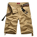 New Fashion Design Men Casual Shorts 2017 Summer Multi-pocket Brand Solid Color Short Trousers Cargo Shorts (Without Belt)