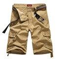 Novo Design de Moda Homens Shorts Casual Verão 2017 de Multi-bolso Marca Cor Sólida Calças Curtas Shorts de Carga (Sem cinto)