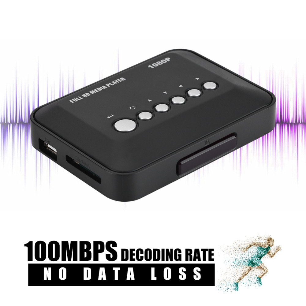 HDMI/AV/YPbPr Output HD Media Player 1080P 100Mbps Decoding Rate HDMI Media Player for US Plug ...