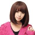 Short Dark Brown Natural Black Synthetic Wig For Women Cute Fringe Straight Bob Wig Heat Resistant Hair Peluca Peruca