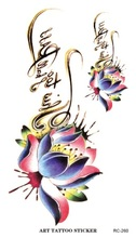 RC2260 Disposable 3d Waterproof Tattoo Sticker Color Lotus Bloom Letter Design Large Temporary Tattoo Stickers