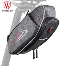 WHEEL UP Reflective Bike Saddle Bag With Water Bottle Pocket Waterproof MTB Bicycle Rear Bags Cycling Rear Seat Tail Bag