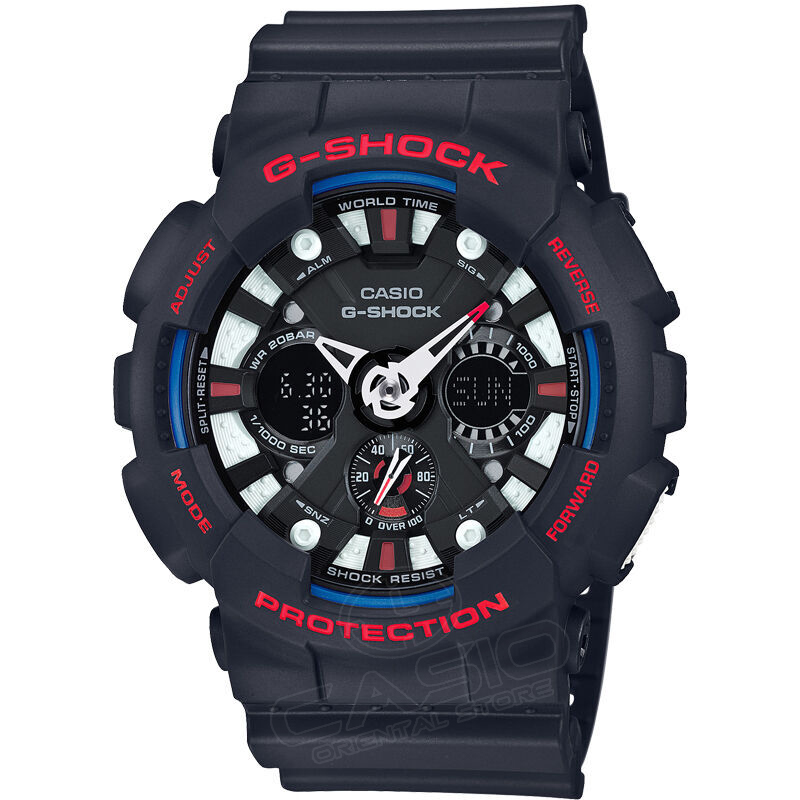 CASIO Watch G-SHOCK Dual Display Wrist Watch Men Waterproof LED Sports Watch Relogio Masculino Clock Male Gift Fashion GA-120-1A casio g shock g classic ga 110mb 1a