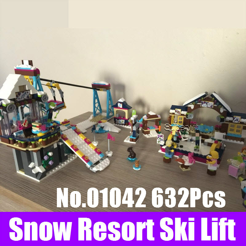 Lepin 01042 Girl Friends Snow Resort Ski Lift Model Building Kits Blocks Bricks Educational Toys For Girls Christmas Gifts 41324 lepin 01040 friends girl series 514pcs building blocks toys snow resort chalet kids bricks toy girl gifts lepin bricks 41323