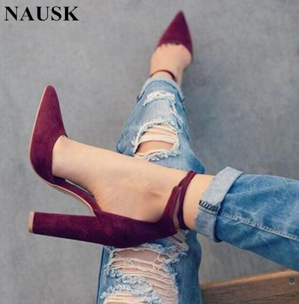 NAUSK 7 Colors Pointed Strappy Pumps Sexy Retro High Thick Heels Shoes 2108 New Woman Shoes Female Lace Up Shoes