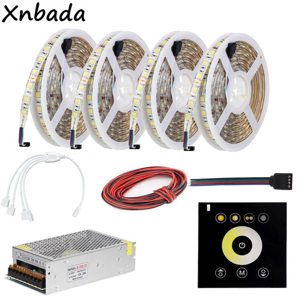 Dual White CCT Touch Panel Led Controller,Led Strip SMD5050 Color Temperature Flexible Light Power Transformer Kit