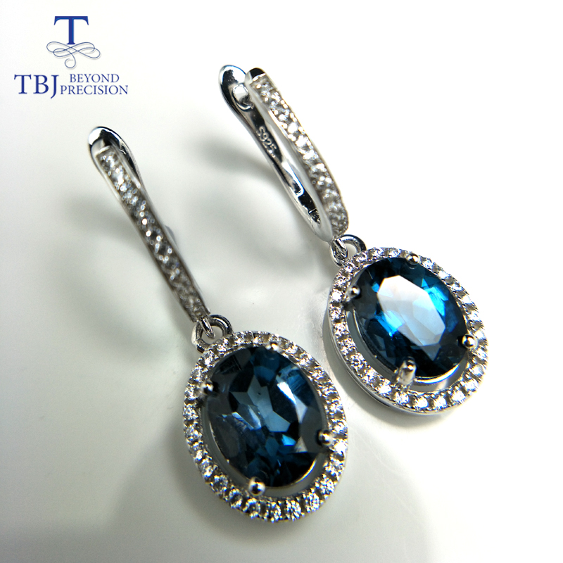 TBJ,Brand Design Elegant clasp drop earring with excellent London topaz in 925 silver color female jewelry with box