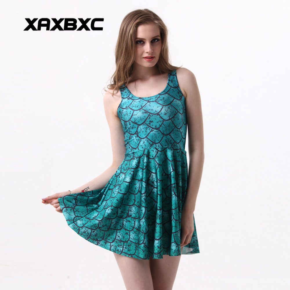 aed4eb6a1d XAXBXC NEW 1016 Summer Sexy Girl Dress Dragon scale Green Mermaid Prints  Reversible Vest Skater Women