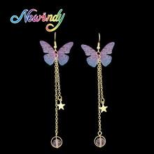 f65f39077874 Oro de color de múltiples capas de la cadena con la estrella hotpink azul  verde púrpura insecto mariposa forma Pendientes de got.