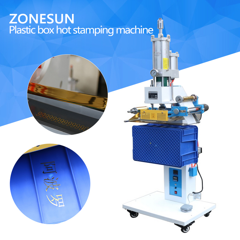 ZONESUN Pneumatic Automatic hot foil Stamping Machine, Plastic box LOGO Creasing machine,LOGO stamper,Hot words machine hot stamping machine hot foil pneumatic stamping press logo printer for leather paper etc customized printable area zy 819b