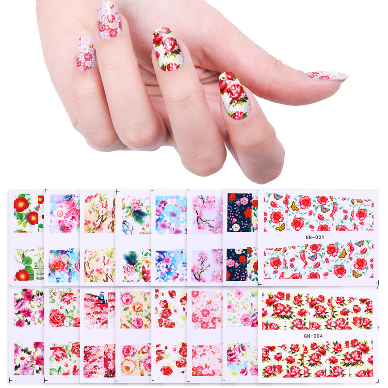 48 Sheets/set Flower Nail Art Full Wraps Rose Sakura Butterfly Nail Foil Nail Art Sticker Decals Water Transfer Tips
