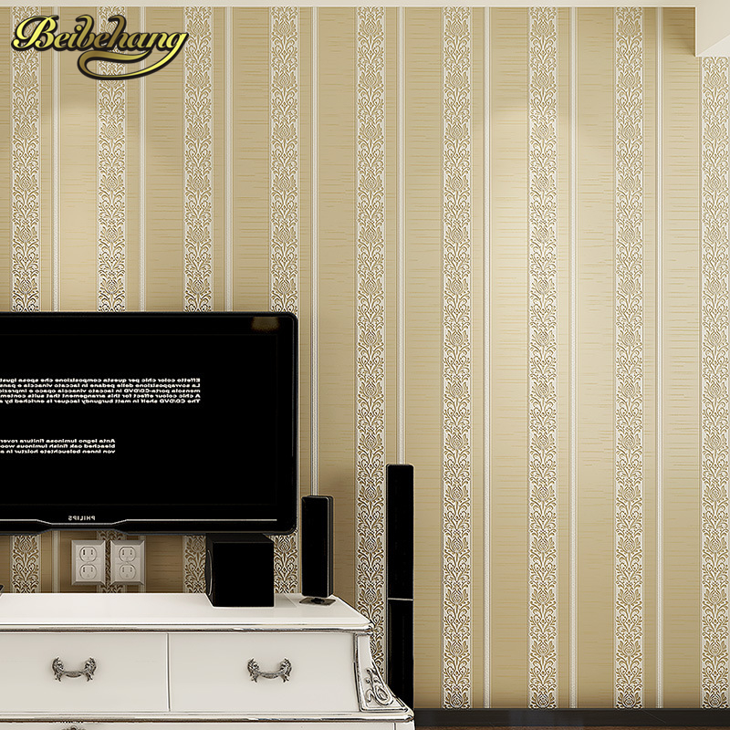 beibehang Stripes Non woven Flocking Wallpaper Modern for Walls Wallpaper Rolls Sofa TV Background Wall Paper Home Decoration