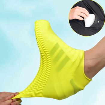 Wodoodporny pokrowiec na buty materiał silikonowy Unisex buty ochraniacze kalosze na kryty odkryty deszczowe dni tanie i dobre opinie CN (pochodzenie) Blending 1 Pair rain shoes cover