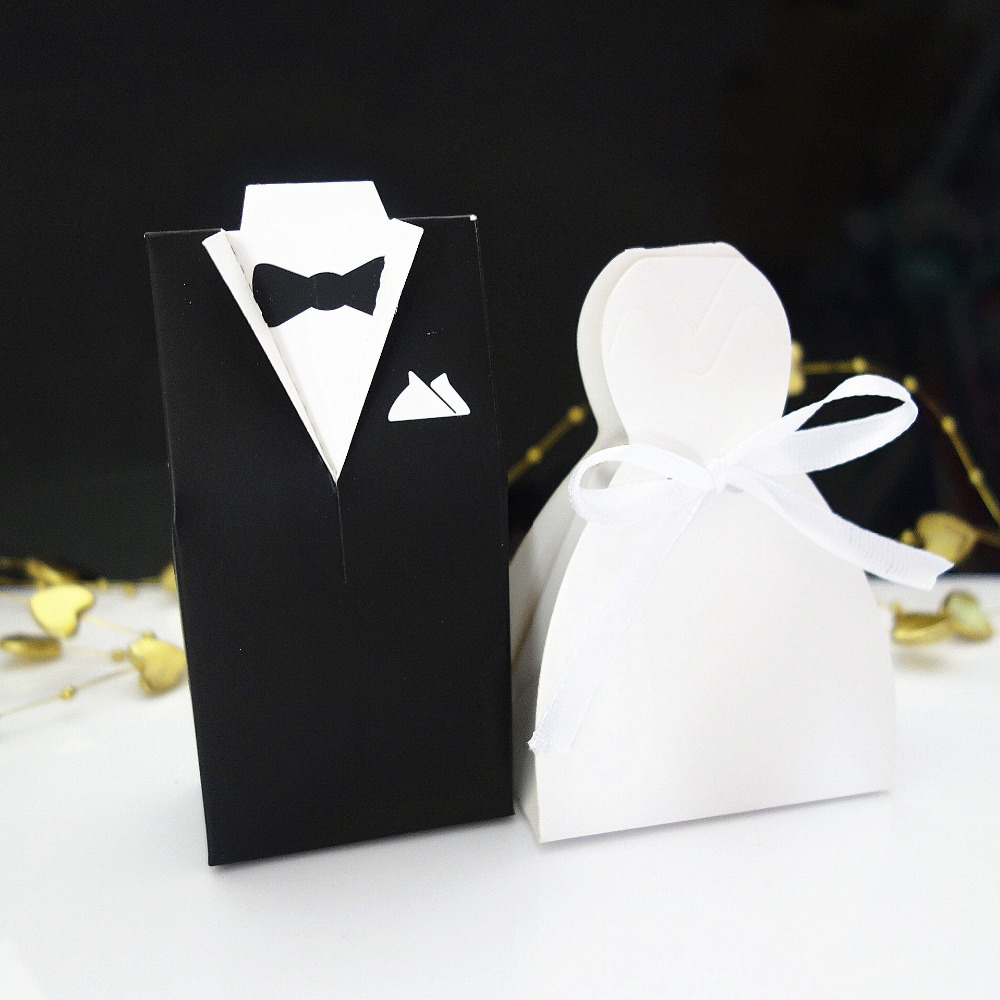100pcs Bride And Groom Tuxedo Dress Gown Wedding Favor Candy Gift
