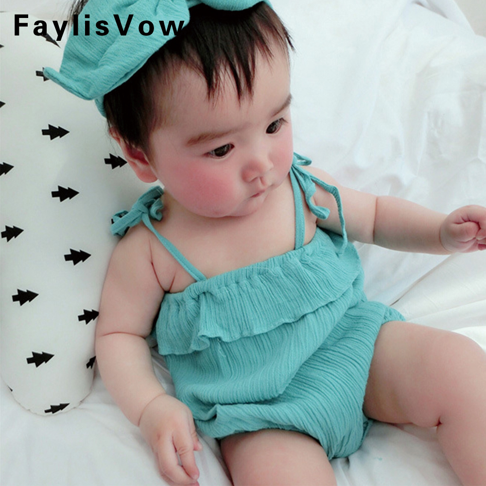 Clearance Baby Rompers Newborn Linen Ruffle Romper Girls Summer Clothing Photo Props With Headband Toddler Sleeveless Clothes