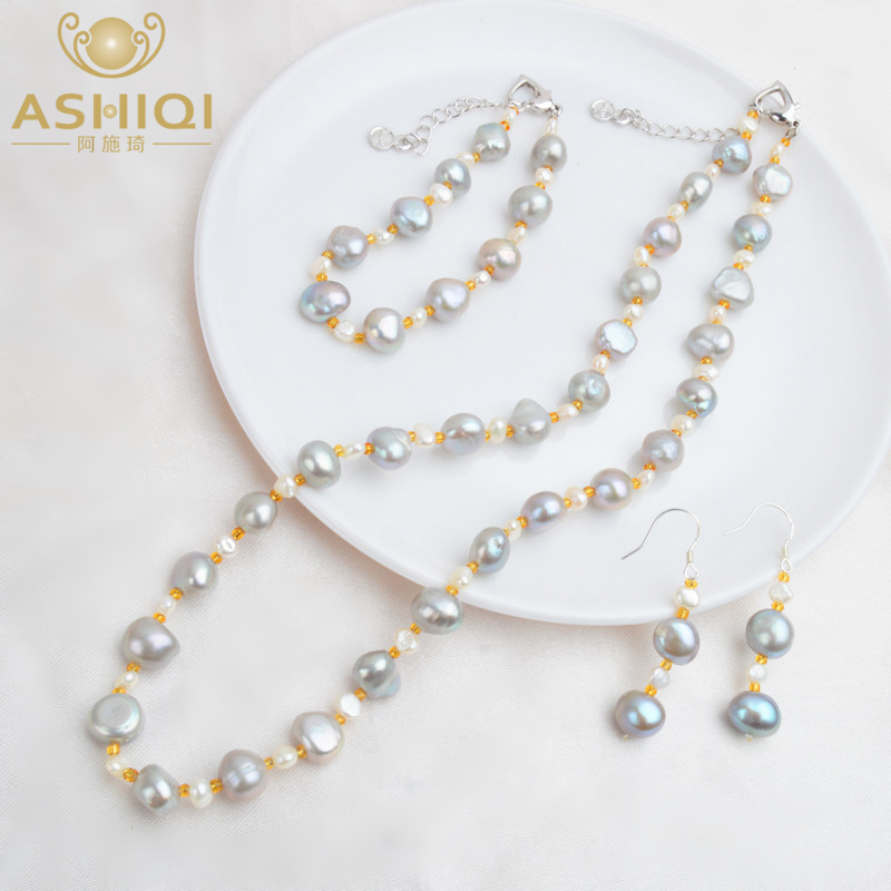 Ashiqi Pure Baroque Pearl Jewellery Units Actual Freshwater Pearl Necklace Bracelet 925 Sterling Silver Earrings Ladies New Arrival