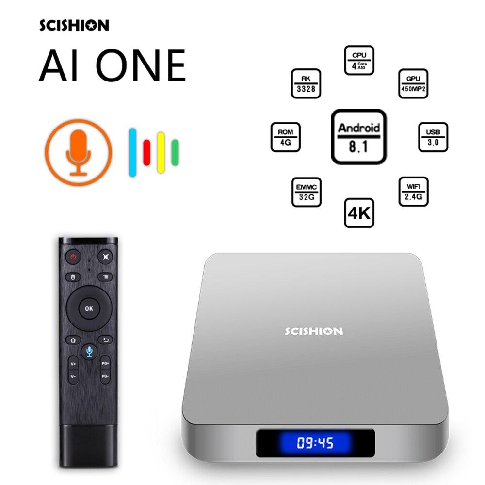 SCISHION AI ONE Android TV Box android 8.1 4 K 2G/16G WiFi BT4.0 lecteur multimédia écran d'affichage commande vocale PK Z28 X96mini TV box