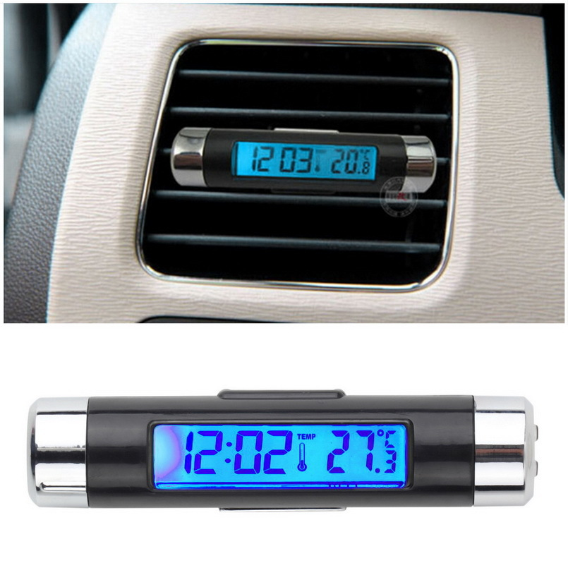1 stks Blue back light Auto Thermometer Klok LCD Clip-op Digitale Lichtgevende Backlight Automobiel Auto Klok Kalender Hot