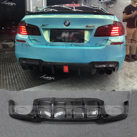F10 M5 V Style Car Styling OLOTDI Carbon Fiber Lower Diffuser Rear Lip Bumper for BMW F10 M5 V Style With LED light Pilot Lamp