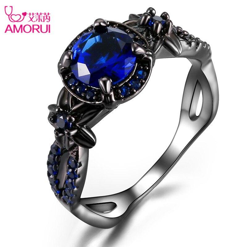 Amorui vendimia anillo azul CZ moda negro oro color flor boda Anillos de compromiso para las mujeres/hombres joyería bijoux femme