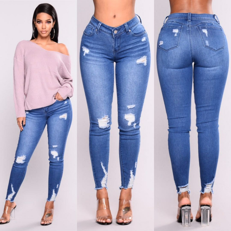 2019 New Blue Jeans Pancil Pants Women High Waist Slim Hole Ripped Denim Jeans Casual Stretch Skinny Trousers Jeans