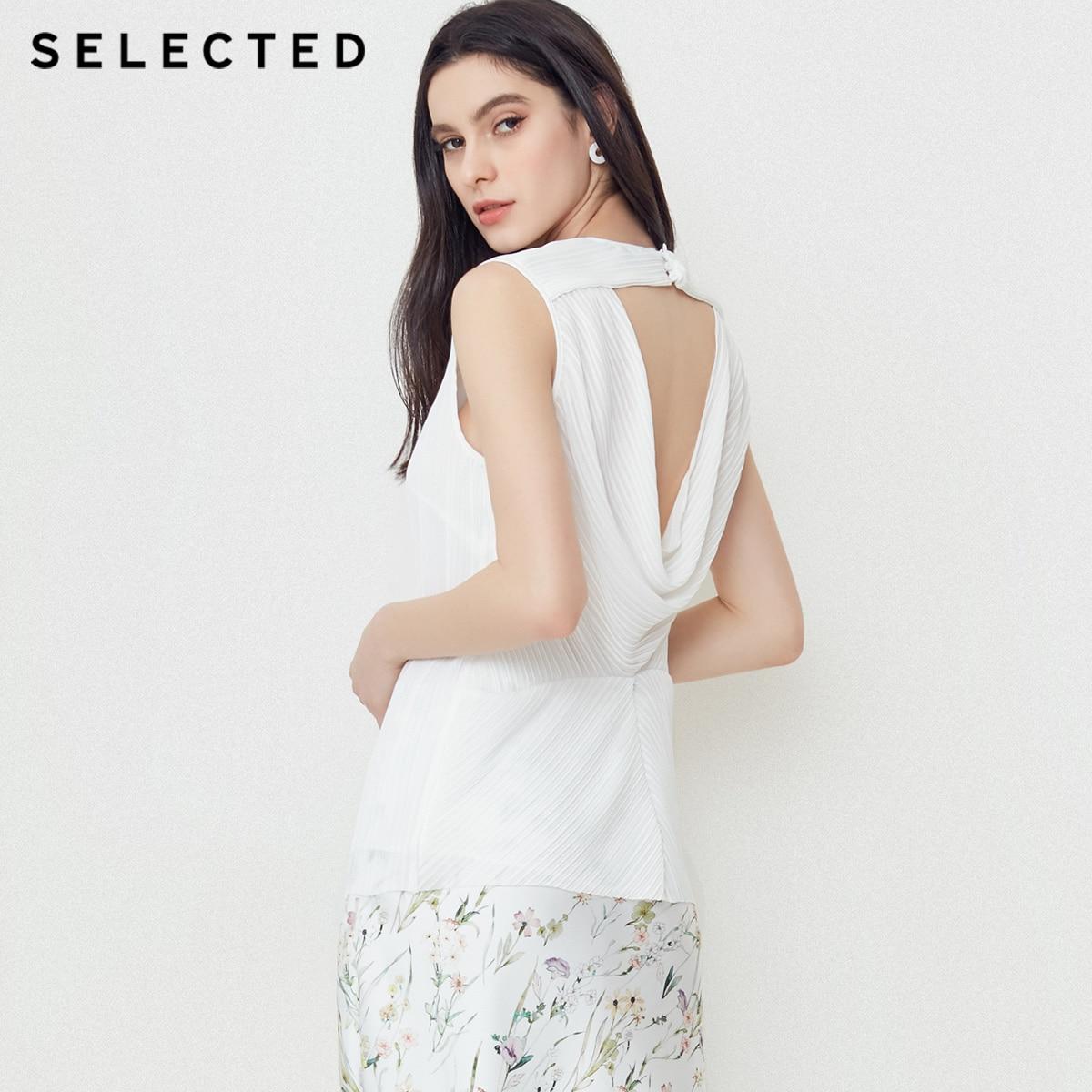 SELECTED Women s Summer Folded Sleeveless Tops S 4182W3510