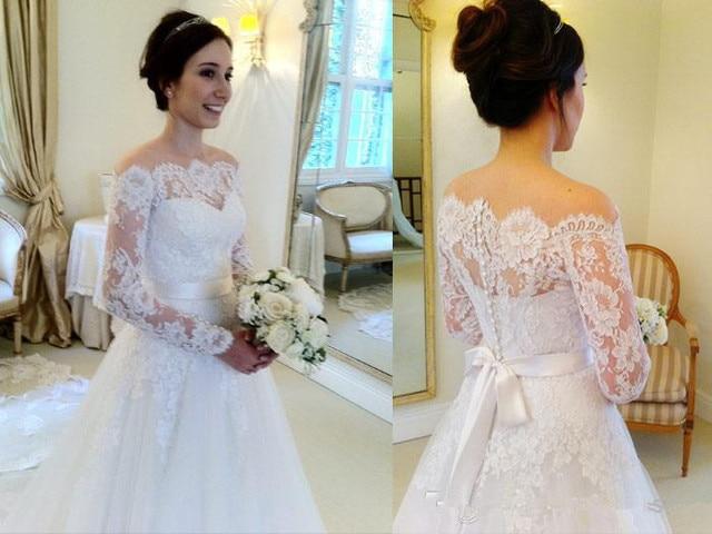 2016 Winter Long Sleeve Off Shoulder A Line Lace Wedding Dress ...
