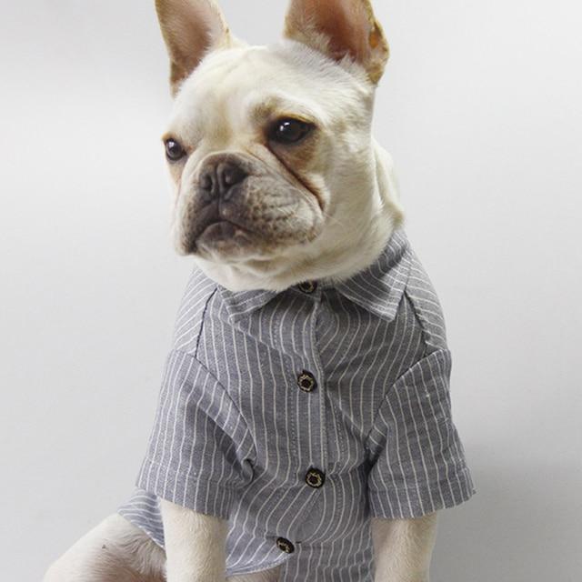 caa2b171b4ea Dog T-Shirt Pet Cotton Linen Striped Shirt Winter Pet Dog Clothes Vest T Shirt  Apparel Clothing Dog Jacket Cloth Accessories