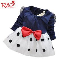 Baby Girl Dress nowe 2018 sukienki dla dziewczyn Bebe noworodka dziewcząt bowwęzłem z długim rękawem księżniczka sukienka dziewczyny ubrania K1 tanie tanio Dziecko Baby Girls Mesh Cotton Regularne Patchwork Bawełna AiLe Rabbit 200244 Tutu Suknia balowa Pełne Długość kolana