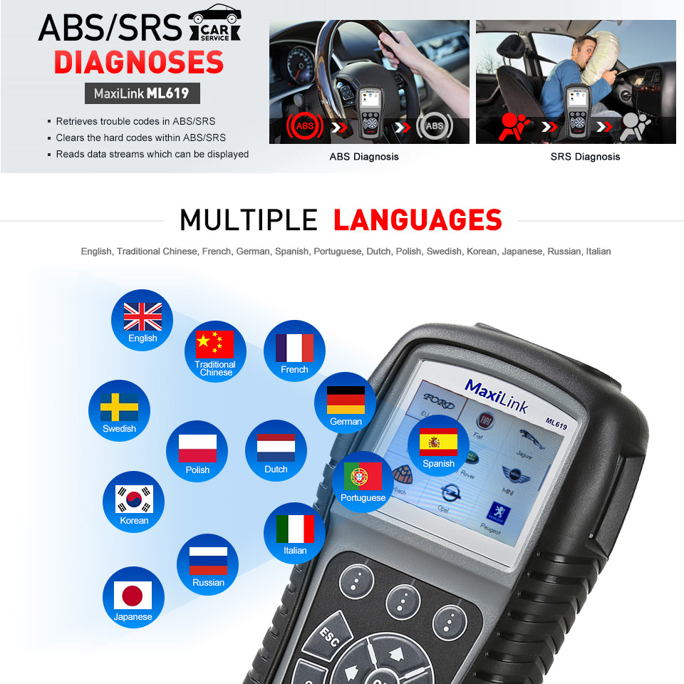 Image 5 - Autel MaxiLink ML619 OBDII OBD 2 Car Diagnostic Code Reader ABS SRS Airbag Scan Tools OBD2 Automotive Scanner as Autolink AL619-in Code Readers & Scan Tools from Automobiles & Motorcycles