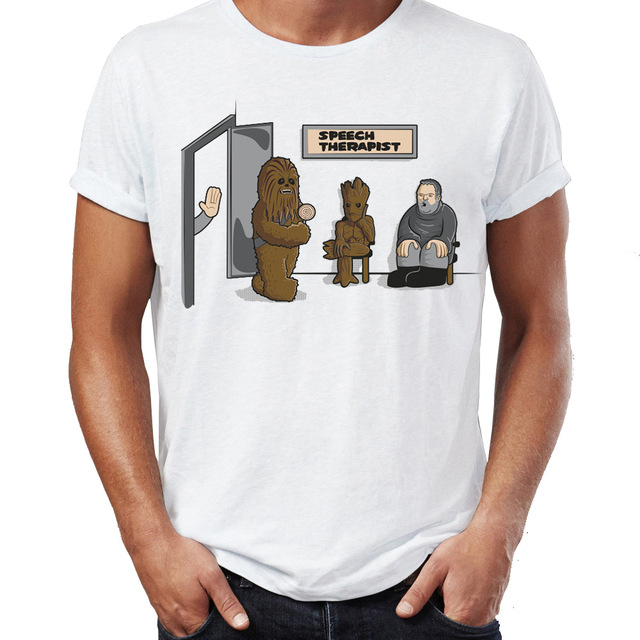 Men's T Shirt Speech Therapy Hodor Chewbacca Chewie Groot Funny Gaming Awesome Tee image