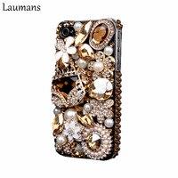 Laumans Mobile couverture de téléphone pour iPhone 6 6 s 7 plus le Cas Bling Or Cristal Fleur Sac Diamant Strass Couverture pour iphone X 8 plus