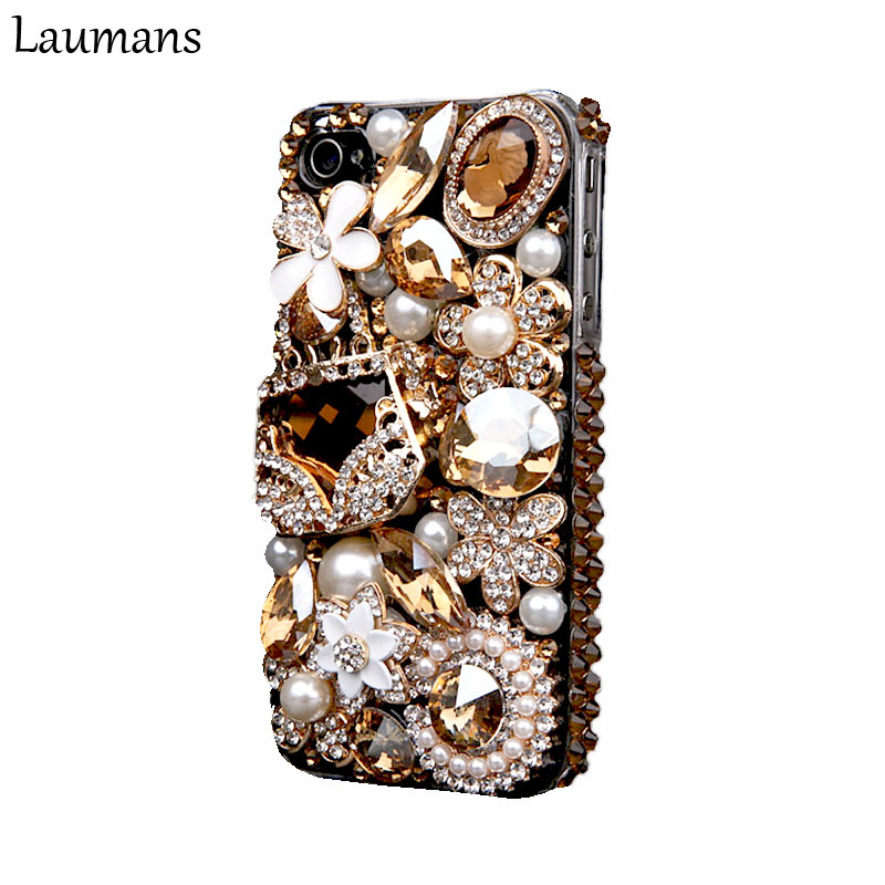 Laumans Mobile phone cover for iPhone 6 6s Case Bling Gold Crystal Flower Bag Diamond Rhinestone