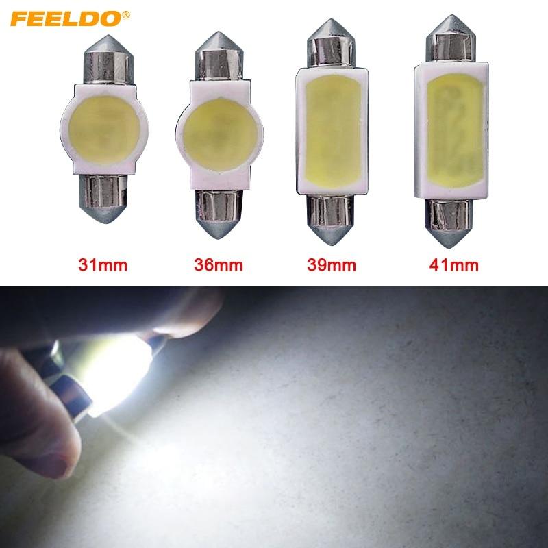 Car Lights Feeldo 20pcs White 31mm/36mm/39mm/41mm Car Cob 2w Ceramic Body Casing Festoon Dome Light C5w Light Bulbs Foof Light Signal Lamp