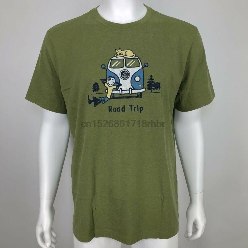 New Life Is Good Mens Shirt Road Trip Van Vanagon Crusher Tee Jake Rocket Green