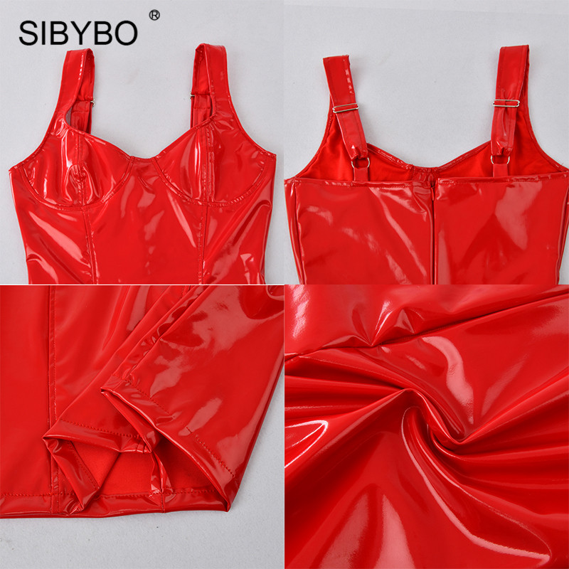 Sibybo Spaghetti Strap PU Sexy Mini Dress Women Fashion V-Neck Sleeveless Summer Women Dress Backless Club Party Dress Short