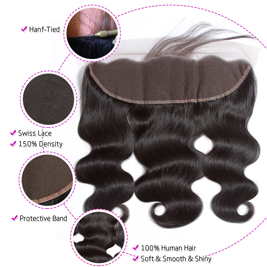 Hermosa Human Hair 3 Bundles With Frontal Closure Brazilian Body Wave 13x4 Lace Frontal With Bundles Middle Ratio Non-Remy Hair