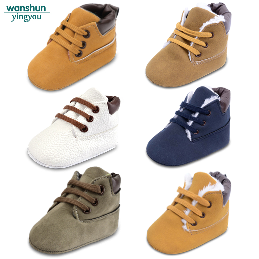 Newborn Baby Boys Classic Handsome First Walkers Shoes Babe Infant Toddler Soft Soled Boots 5 color selection bebes(China)